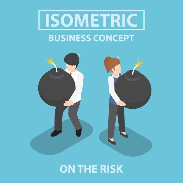 Pessoas de negócios isométrica segurando bomba pesada em suas mãos Vetor Premium