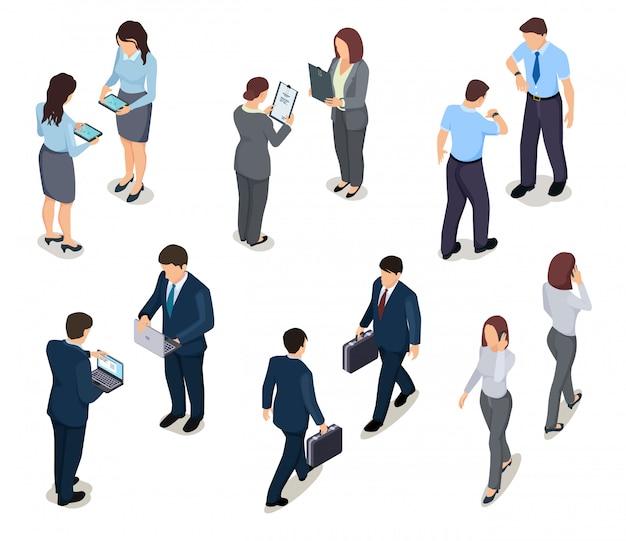 Pessoas de negócios isométricas. 3d homens e mulheres. multidão de pessoas. empresário e empresária. personagens de vetor em roupas de escritório Vetor Premium