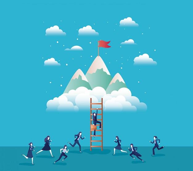 Pessoas de negócios nas montanhas com bandeira com escada Vetor Premium