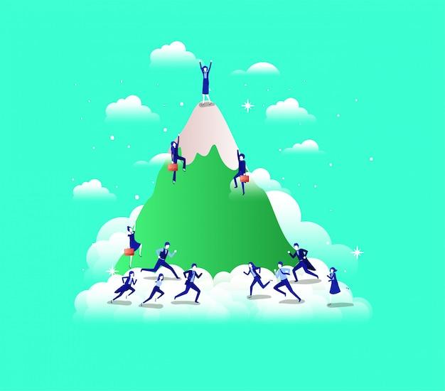 Pessoas de negócios nas montanhas Vetor Premium
