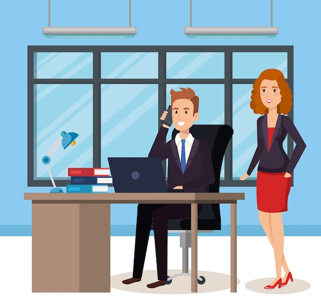 Pessoas de negócios nos avatares isométrica de escritório Vetor Premium