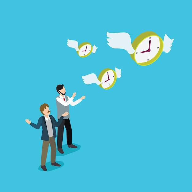 Pessoas de negócios perdem a gestão do tempo Vetor Premium