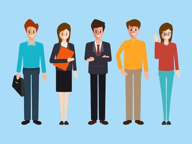 Pessoas de negócios personagem trabalho em equipe corporativa. Vetor Premium