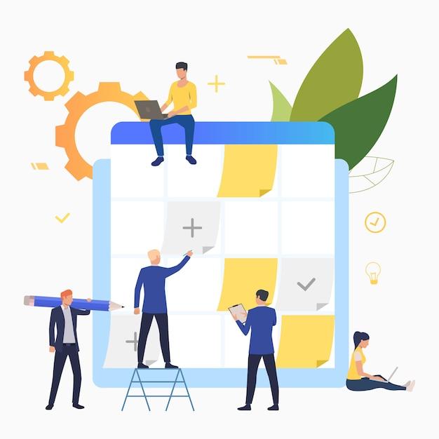 Pessoas de negócios planejamento e trabalhando com quadro de tarefas Vetor grátis