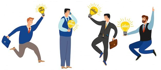 Pessoas de negócios têm uma coleção de novas idéias. ilustração da ampola da ideia de negócio, ideia nova da inspiração do homem de negócios. Vetor Premium