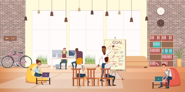 Pessoas de negócios trabalham descanso na área de escritório moderno Vetor Premium