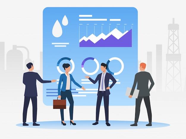Pessoas de negócios, trabalhando e discutindo questões, gráficos de dados Vetor grátis