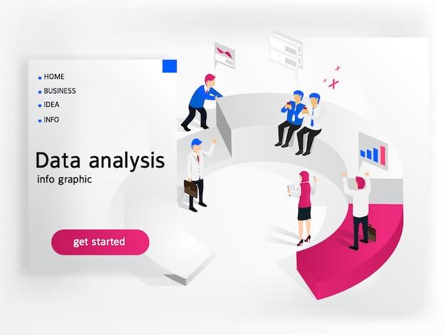 Pessoas de negócios, trabalhando para análise de dados Vetor Premium