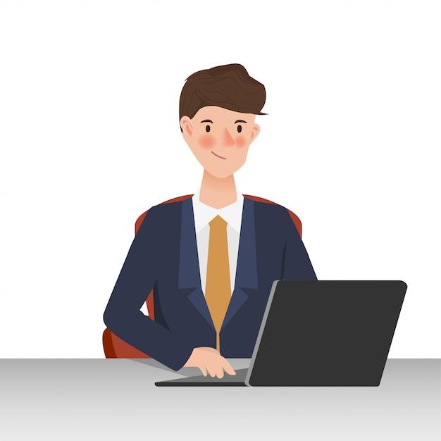 Pessoas de negócios usando o laptop para comunicação. design de personagens de pessoas trabalhando mão desenhada. Vetor Premium
