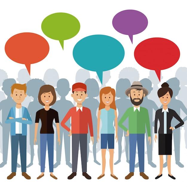 Pessoas de pé com caixa de diálogo e sombra atrás de pessoas Vetor Premium