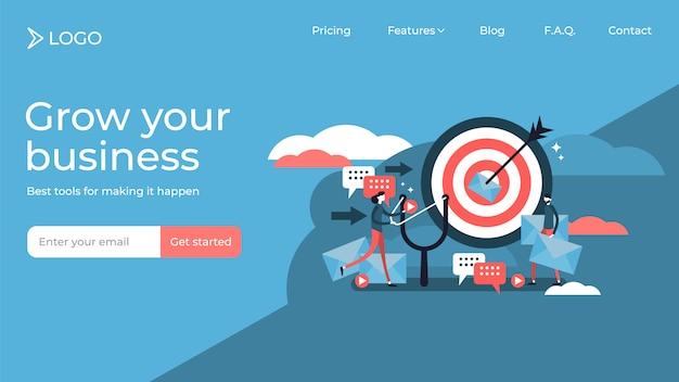 Pessoas de plano marketing direto minúsculas vector design de modelo de página de destino de ilustração Vetor Premium
