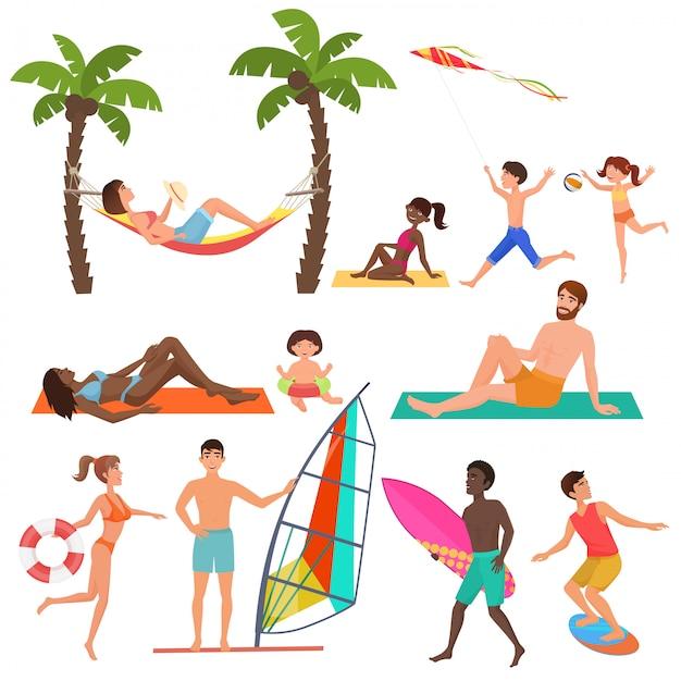 Pessoas de praia esporte ativo verão Vetor Premium