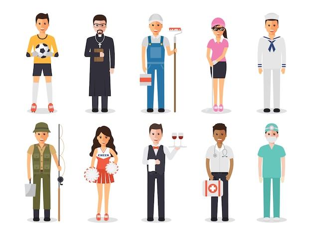 Pessoas de profissão de ocupação. Vetor Premium