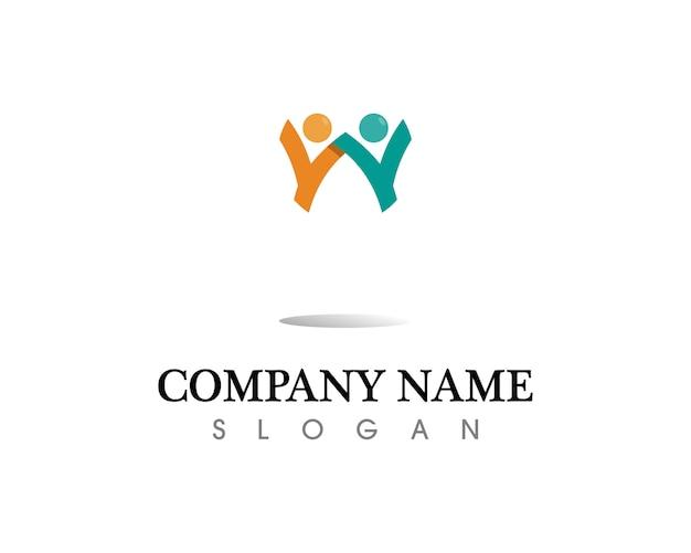 Pessoas de sucesso de saúde se preocupam com logotipo e modelo de símbolos Vetor Premium