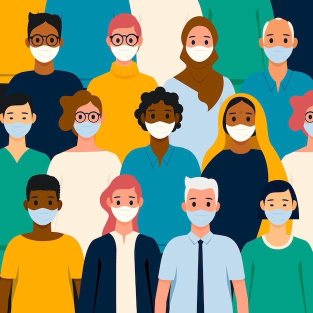 Pessoas de todas as nacionalidades que usam máscaras Vetor grátis