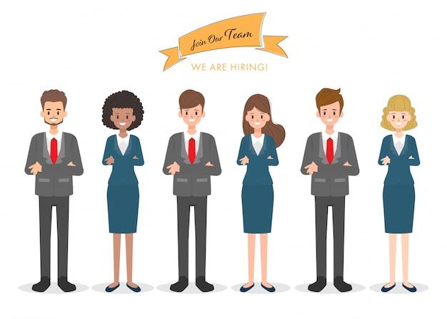 Pessoas de trabalho em equipe caráter internacional no trabalho de escritório. Vetor Premium