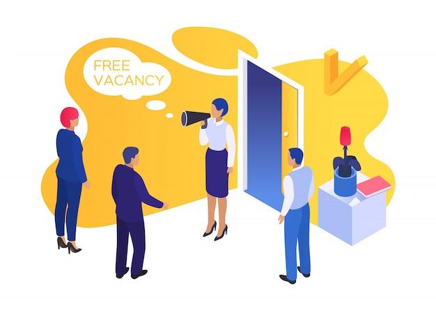 Pessoas de vaga de negócios de trabalho, ilustração. manjedoura conceito de recrutamento, contratação de entrevista para a carreira. pesquisar hr worker Vetor Premium