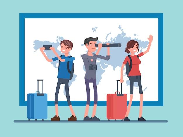 Pessoas de vetor viajando com fundo de mapas Vetor Premium