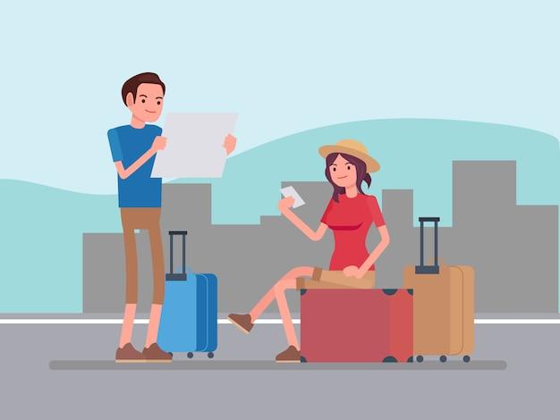Pessoas de vetor viajando Vetor Premium