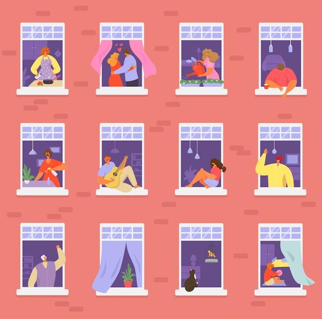 Pessoas de vizinhos na ilustração de janela, cartoon homem ativo mulher ou casal caracteres vivem em conjunto de apartamentos em casa vizinhos Vetor Premium