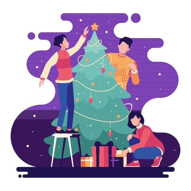 Pessoas decorando a árvore de natal no fundo estrelado violeta Vetor grátis