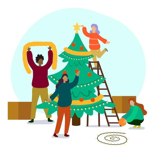 Pessoas decorando a coleção de árvore de natal Vetor grátis