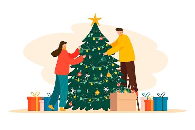 Pessoas decorando a ilustração da árvore de natal Vetor grátis