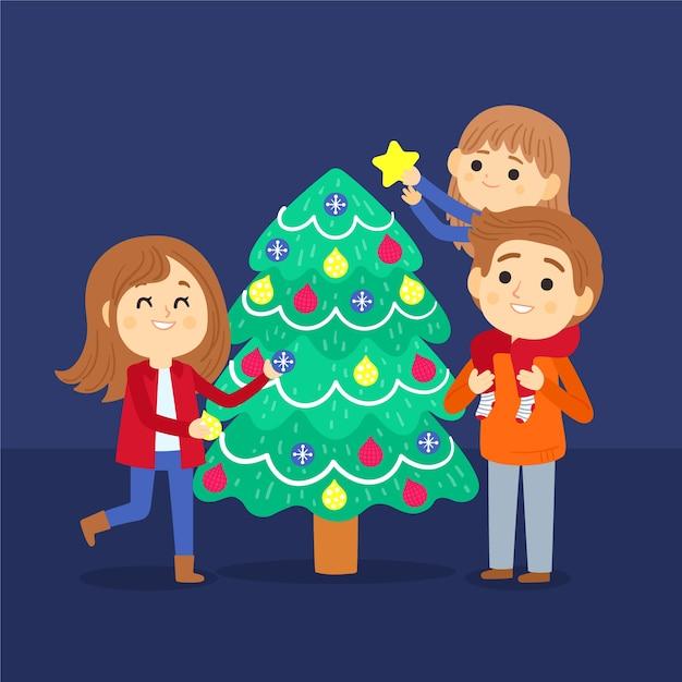 Pessoas decorando conjunto de árvore de natal Vetor grátis