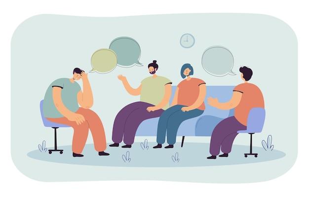Pessoas deprimidas aconselhando com ilustração plana isolada psicólogo. ilustração de desenho animado Vetor grátis