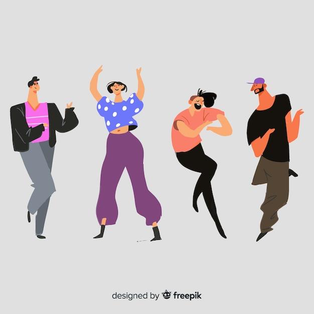 Pessoas desenhadas mão dançando conjunto Vetor grátis