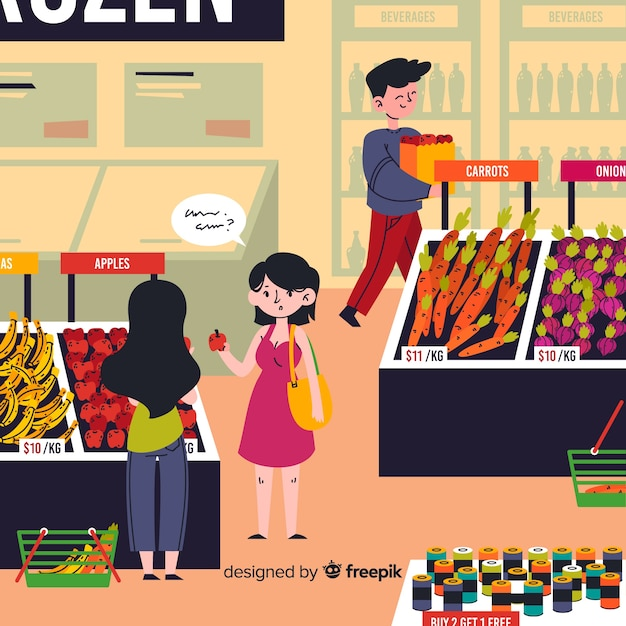 Pessoas desenhadas mão de compras no fundo do supermercado Vetor grátis