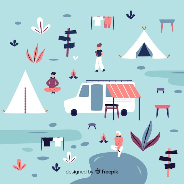 Pessoas, desfrutando, em, um, acampamento Vetor grátis