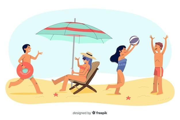 Pessoas, desfrutando, verão, praia Vetor grátis