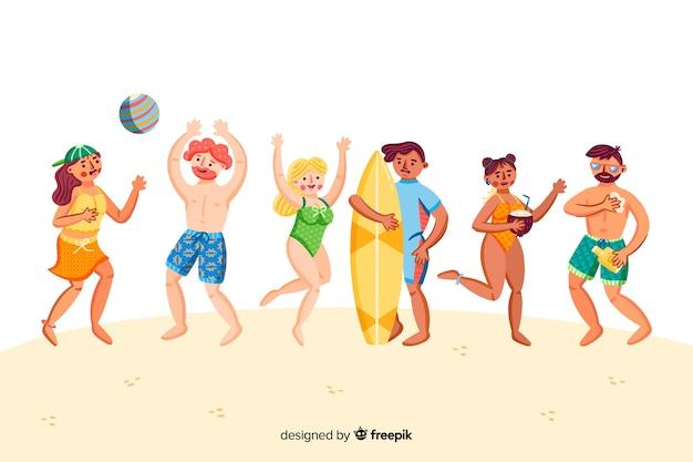 Pessoas, desfrutando, verão Vetor grátis