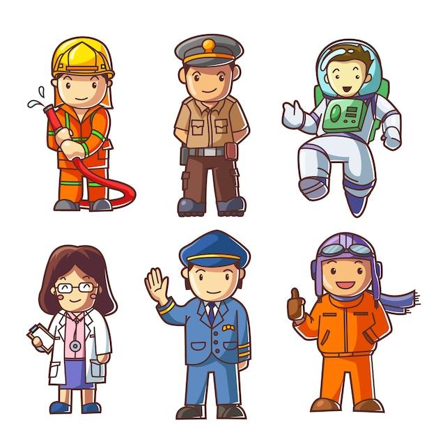 Pessoas diferentes profissões Vetor Premium
