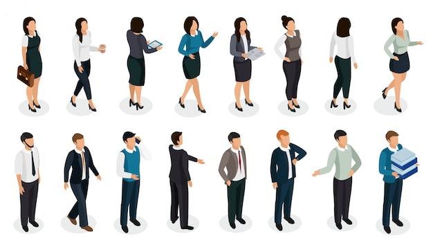Pessoas do escritório em roupas de negócios em várias posturas com conjunto isométrico de acessórios isolado Vetor grátis