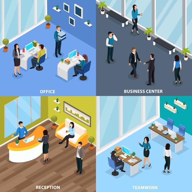 Pessoas do escritório no centro de negócios durante o trabalho em equipe e no conceito isométrico de recepção isolado Vetor grátis