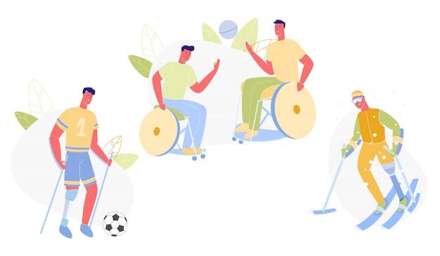 Pessoas do sexo masculino com deficiência fazendo desporto plano. Vetor Premium