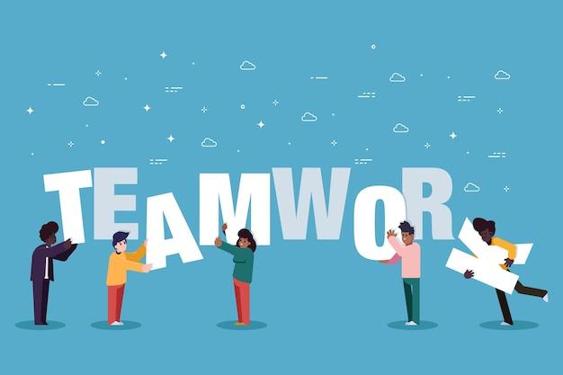 Pessoas do trabalho em equipe criando juntos Vetor Premium
