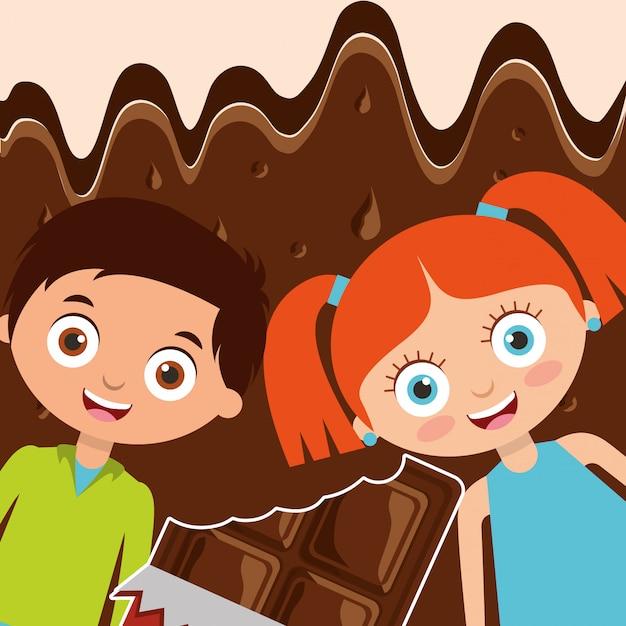 Pessoas doces de chocolate Vetor Premium