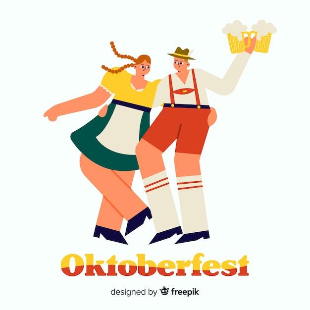 Pessoas dos desenhos animados, celebrando a oktoberfest Vetor grátis