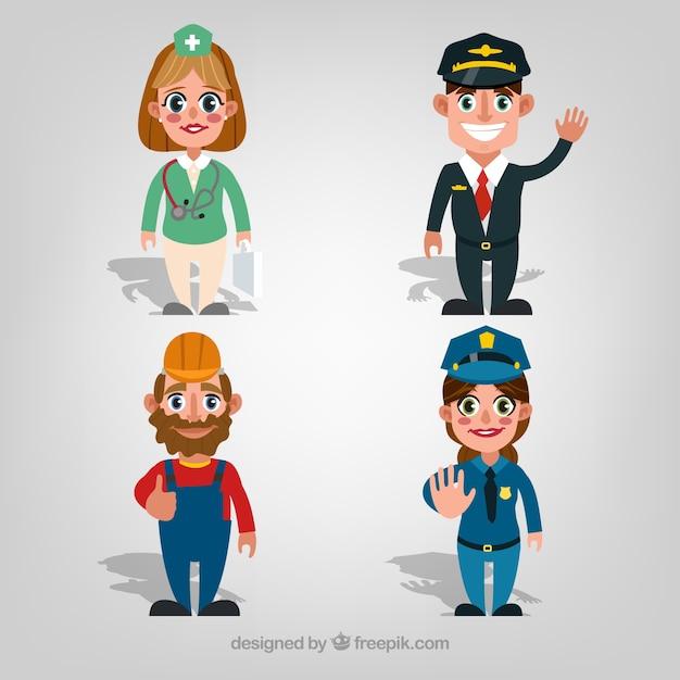 Pessoas dos desenhos animados com diferentes trabalhos Vetor grátis