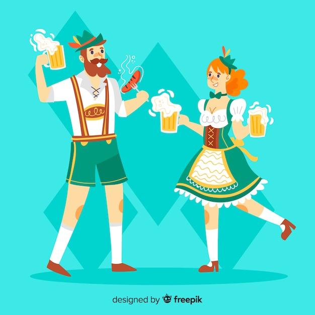 Pessoas dos desenhos animados dançando no oktoberfest Vetor grátis