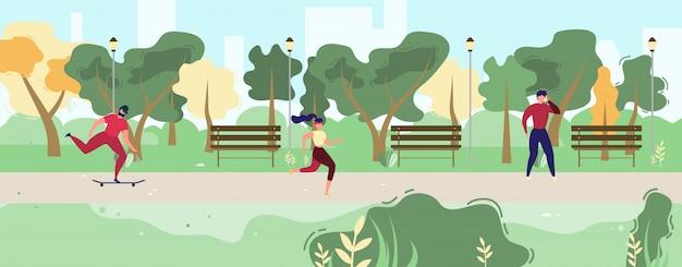Pessoas dos desenhos animados, descansando na ilustração do parque da cidade Vetor grátis