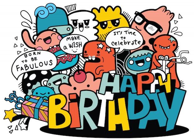 Pessoas dos desenhos animados e feliz aniversário Vetor Premium
