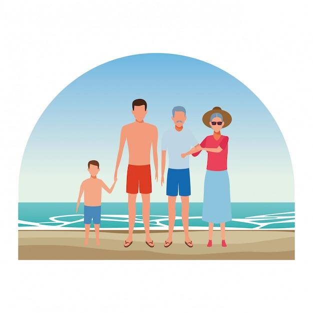 Pessoas dos desenhos animados nas férias de verão Vetor Premium