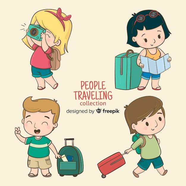 Pessoas dos desenhos animados viajando conjunto Vetor grátis