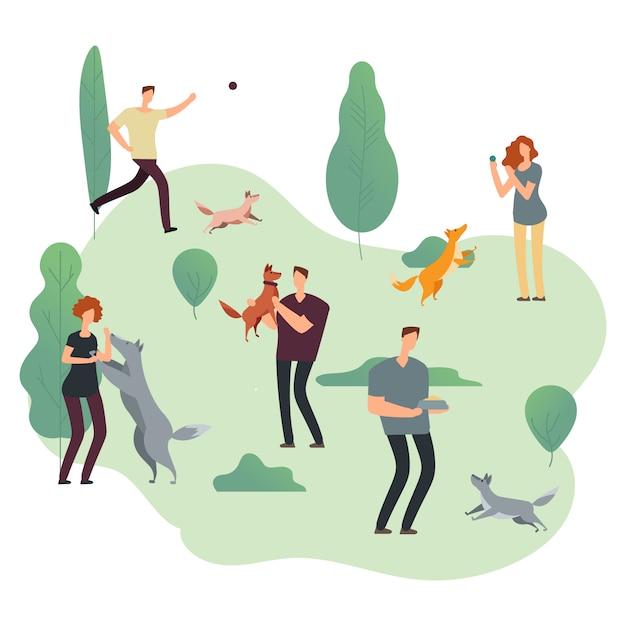 Pessoas e animais de estimação. voluntários com ilustração de cães sem teto Vetor Premium