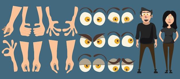 Pessoas e braço e olhos definir ilustração vetorial Vetor Premium