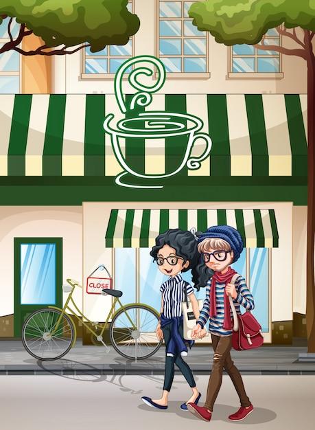 Pessoas e café Vetor grátis